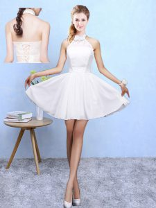 Best Selling White A-line Halter Top Sleeveless Chiffon Knee Length Lace Up Lace Vestidos de Damas