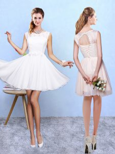 Popular Lace and Appliques Vestidos de Damas White Lace Up Sleeveless Knee Length