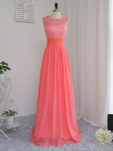Sumptuous Watermelon Red Empire Scoop Sleeveless Chiffon Floor Length Zipper Lace Quinceanera Court Dresses