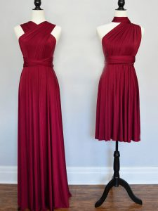 Dazzling Halter Top Sleeveless Lace Up Dama Dress Burgundy Chiffon