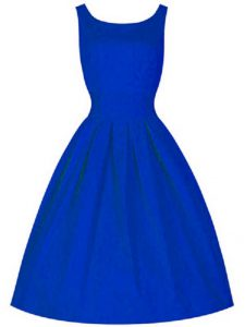 Royal Blue High-neck Lace Up Ruching Quinceanera Court of Honor Dress Sleeveless