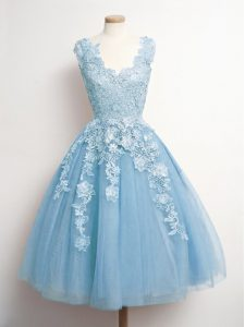 43562e0c5f7  165.42  62.68  Tulle V-neck Sleeveless Lace Up Appliques Quinceanera Court  Dresses in Light Blue