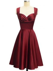 Glorious Wine Red Empire Taffeta Straps Sleeveless Ruching Knee Length Lace Up Dama Dress for Quinceanera