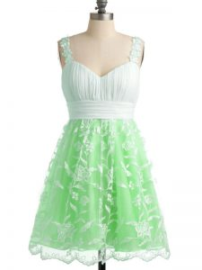 Fantastic Apple Green Sleeveless Knee Length Lace Lace Up Damas Dress