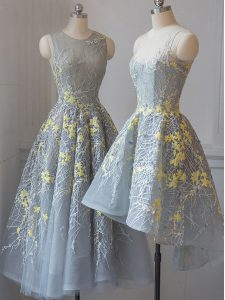 A-line Court Dresses for Sweet 16 Grey Scoop Tulle Sleeveless Tea Length Criss Cross