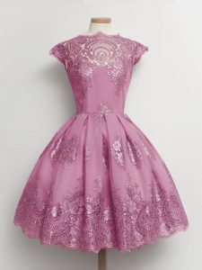 Nice Knee Length Lilac Damas Dress Tulle Cap Sleeves Lace