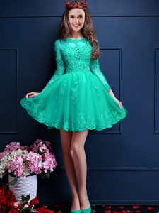 Shining Beading and Lace and Appliques Dama Dress for Quinceanera Turquoise Lace Up 3 4 Length Sleeve Mini Length