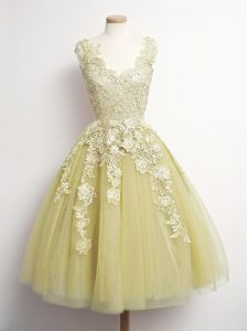 Sleeveless Lace Up Knee Length Appliques Quinceanera Court of Honor Dress