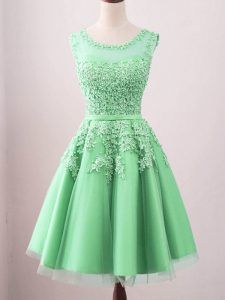 Green A-line Tulle Scoop Sleeveless Lace Knee Length Lace Up Dama Dress for Quinceanera