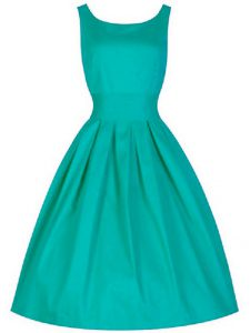 Artistic Taffeta Scoop Sleeveless Lace Up Ruching Quinceanera Court of Honor Dress in Turquoise