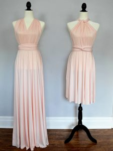 Great Baby Pink and Peach Lace Up Halter Top Ruching Quinceanera Dama Dress Chiffon Sleeveless