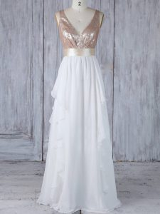 White Chiffon Backless Damas Dress Sleeveless Floor Length Ruffles and Sequins
