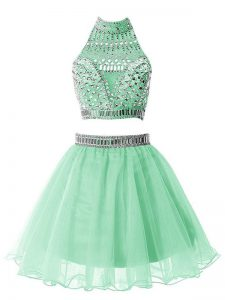 Lovely Apple Green A-line Beading Vestidos de Damas Zipper Organza Sleeveless Knee Length
