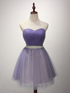 Exquisite Sleeveless Beading and Ruching Lace Up Dama Dress for Quinceanera