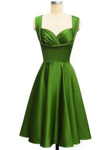 Stylish Green Sleeveless Knee Length Ruching Lace Up Quinceanera Court Dresses