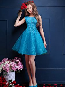 Trendy Knee Length A-line Sleeveless Teal Quinceanera Court Dresses Lace Up