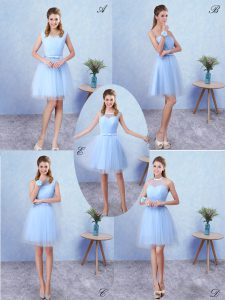 Scoop Sleeveless Lace Up Damas Dress Blue Tulle