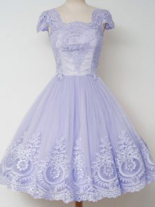 Knee Length Lavender Quinceanera Dama Dress Tulle Cap Sleeves Lace