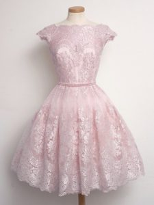 Glorious Scalloped Cap Sleeves Dama Dress Knee Length Lace Baby Pink Lace