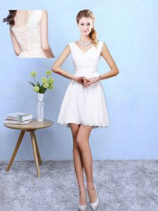 Amazing White Lace Up Quinceanera Dama Dress Lace Sleeveless Mini Length