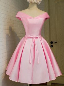 Customized Pink Court Dresses for Sweet 16 Prom and Party and Wedding Party with Belt Off The Shoulder Cap Sleeves Lace Up