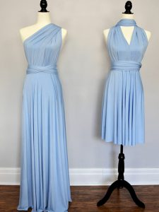 Floor Length Empire Sleeveless Light Blue Vestidos de Damas Lace Up