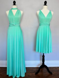 Glamorous Turquoise Empire Chiffon V-neck Sleeveless Ruching Floor Length Lace Up Quinceanera Court Dresses