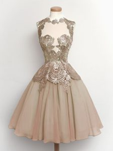New Arrival High-neck Sleeveless Lace Up Dama Dress for Quinceanera Brown Chiffon