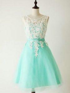High Class Tulle Sleeveless Knee Length Dama Dress for Quinceanera and Lace