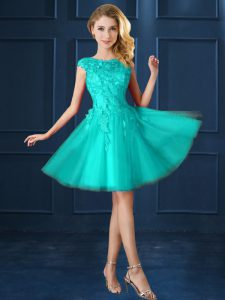 Top Selling Cap Sleeves Tulle Knee Length Lace Up Quinceanera Court of Honor Dress in Turquoise with Lace and Belt