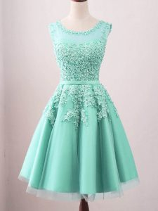 Deluxe Turquoise Sleeveless Tulle Lace Up Quinceanera Court of Honor Dress for Prom and Party and Wedding Party