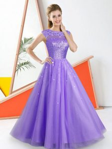 Fancy Lavender Bateau Neckline Beading and Lace Damas Dress Sleeveless Backless