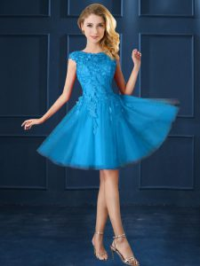 Baby Blue A-line Lace and Belt Court Dresses for Sweet 16 Lace Up Tulle Cap Sleeves Knee Length