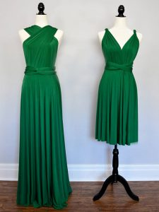 Dazzling Dark Green Halter Top Neckline Ruching Court Dresses for Sweet 16 Sleeveless Lace Up