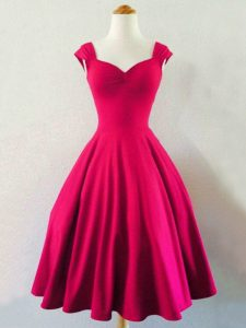 Fitting Straps Sleeveless Lace Up Dama Dress Hot Pink Taffeta
