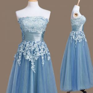 Sleeveless Lace Up Tea Length Appliques Quinceanera Court Dresses
