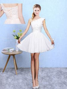 Decent Sleeveless Lace Up Knee Length Appliques Dama Dress for Quinceanera