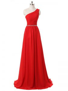Nice Red Empire One Shoulder Sleeveless Chiffon Floor Length Side Zipper Beading and Ruching Court Dresses for Sweet 16