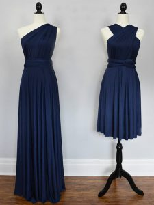 Customized Sleeveless Chiffon Floor Length Lace Up Court Dresses for Sweet 16 in Navy Blue with Ruching