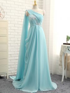 Aqua Blue Quinceanera Court Dresses One Shoulder Sleeveless Brush Train Zipper