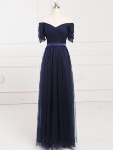 Fashionable Navy Blue Empire Tulle Off The Shoulder Short Sleeves Ruching Floor Length Lace Up Quinceanera Court of Honor Dress