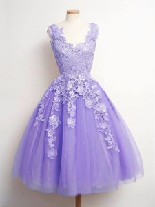 V-neck Sleeveless Tulle Court Dresses for Sweet 16 Lace Lace Up