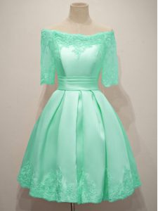 Off The Shoulder Half Sleeves Dama Dress for Quinceanera Knee Length Lace Turquoise Taffeta