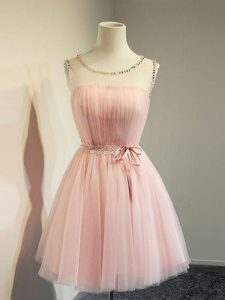 Knee Length Baby Pink Vestidos de Damas Scoop Long Sleeves Lace Up