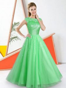 Artistic Green Bateau Neckline Beading and Lace Damas Dress Sleeveless Backless