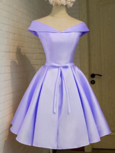 Superior Lavender Cap Sleeves Belt Knee Length Quinceanera Dama Dress