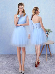 Dramatic Aqua Blue Lace Up Asymmetric Belt Dama Dress Tulle Sleeveless