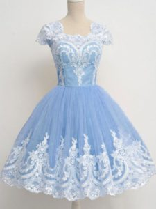 Romantic Square Cap Sleeves Quinceanera Court of Honor Dress Knee Length Lace Light Blue Tulle