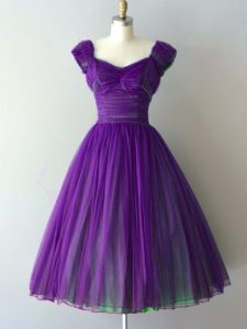 Purple V-neck Lace Up Ruching Dama Dress for Quinceanera Cap Sleeves