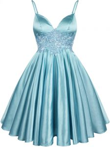 Best Selling Aqua Blue Sleeveless Knee Length Lace Lace Up Quinceanera Court Dresses